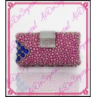 Aidocrystal 2016 new style handmade fuchsia color crystal rhinestones women clutch bag for party