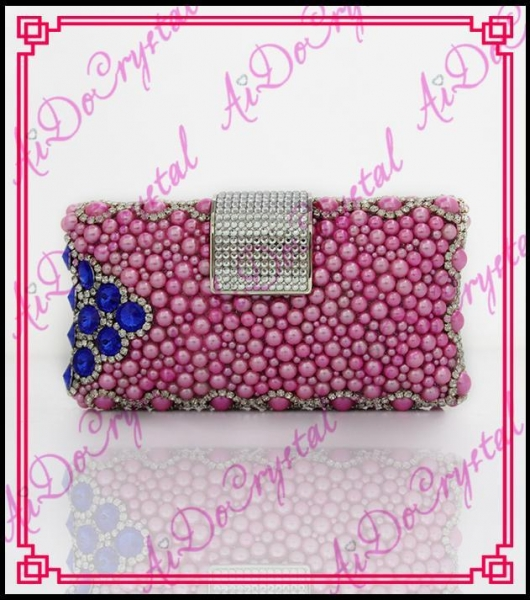Quality Aidocrystal 2016 new style handmade fuchsia color crystal rhinestones women clutch bag for party for sale