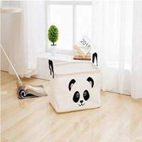 China Square Natural Linen & Cotton Fabric Storage Bin on sale
