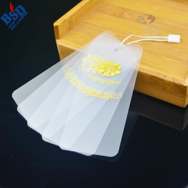 Quality Custom PVC hang tag with gold stamping Logo for sale